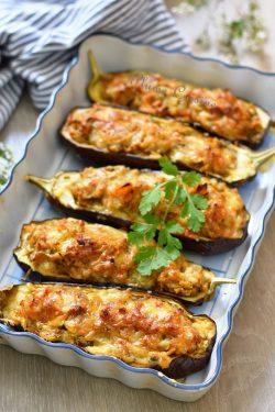 Aubergines-gratinées-crevettes-recette