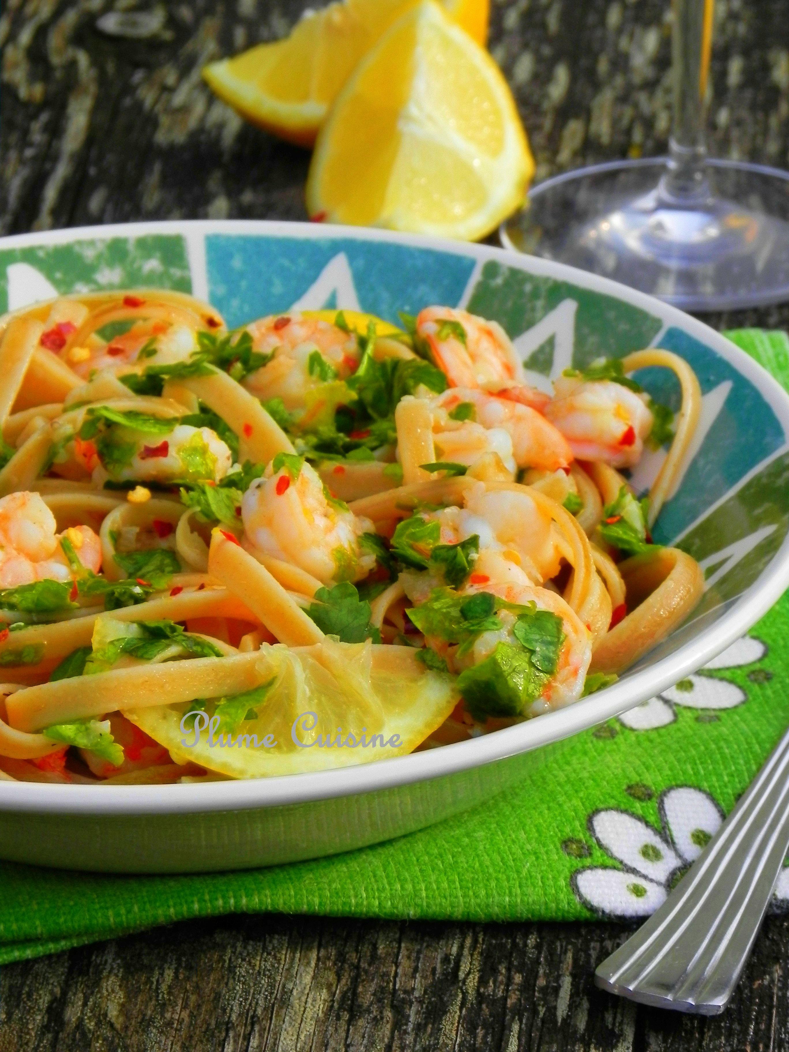 Linguine ail et crevettes