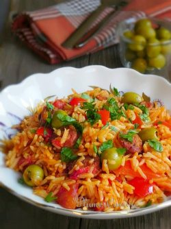Riz-chorizo-tomates-olives